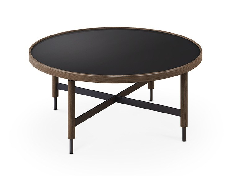 Round oak coffee table for living room COLLIN | Low coffee table by Collector