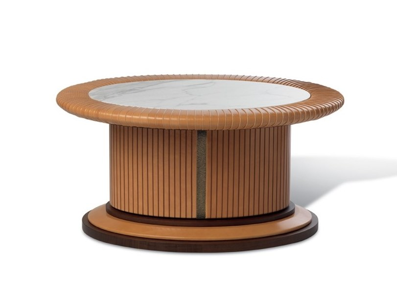 Low round leather coffee table for living room COLOMBO GOLDEN BRICK by Mascheroni