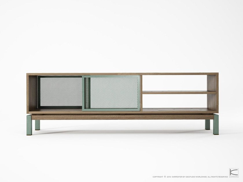 Double-sided teak TV cabinet with shelves COLOR BEBOP | Contemporary style TV cabinet by KARPENTER