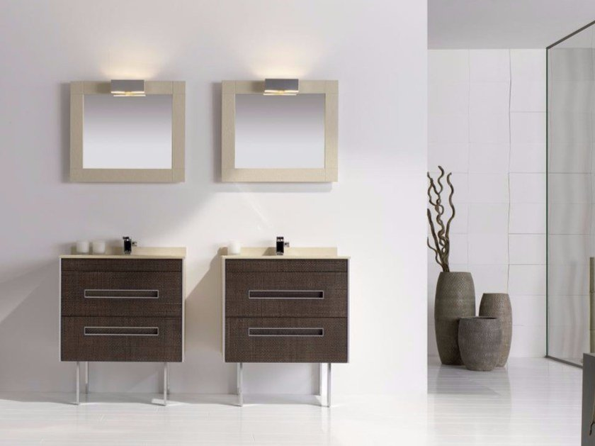 MDF vanity unit with drawers with mirror COLORS LEATHER 07 by Fiora