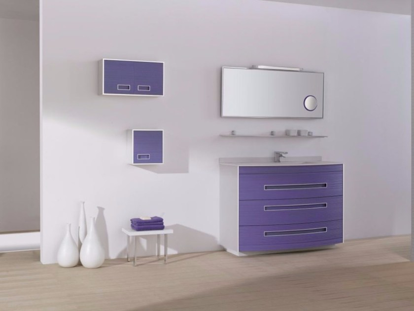 MDF vanity unit with drawers with mirror COLORS LINES 01 by Fiora