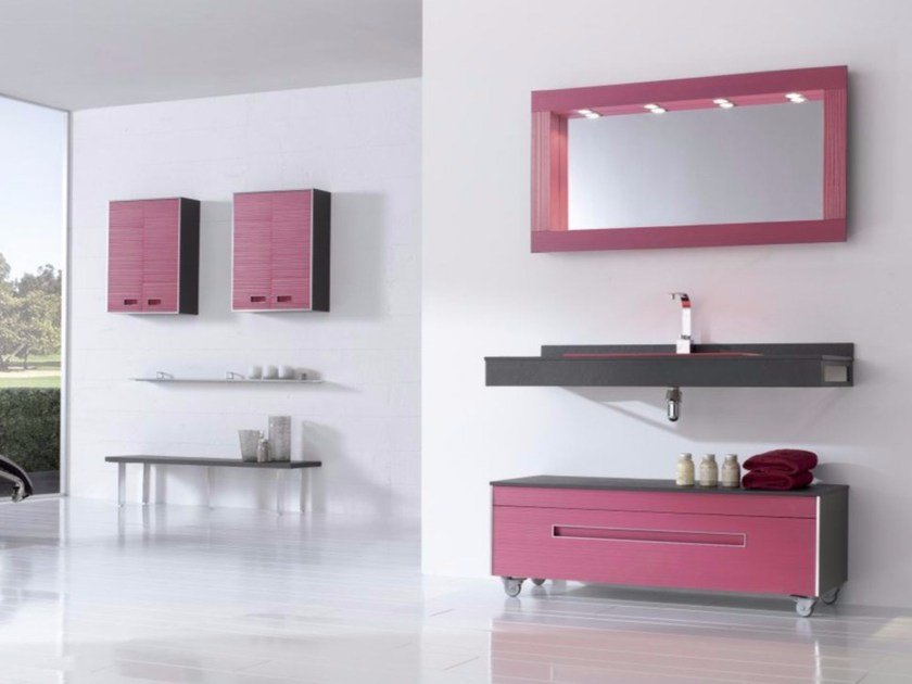 MDF vanity unit with drawers with mirror COLORS LINES 10 by Fiora