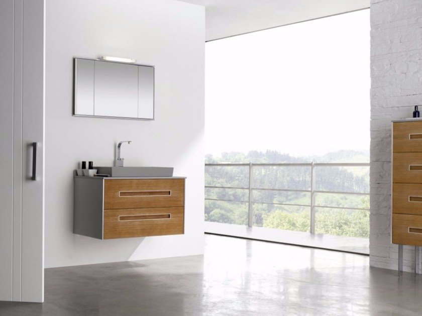 Wall-mounted MDF vanity unit with drawers with mirror COLORS PINEWOOD 09 by Fiora