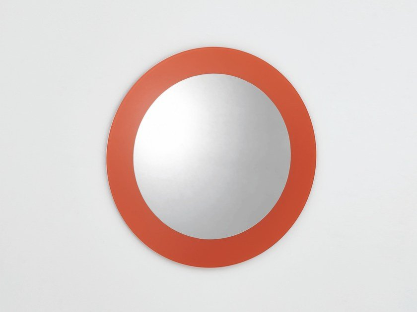 Round wall-mounted framed mirror COLOURS | Round mirror by Glas Italia