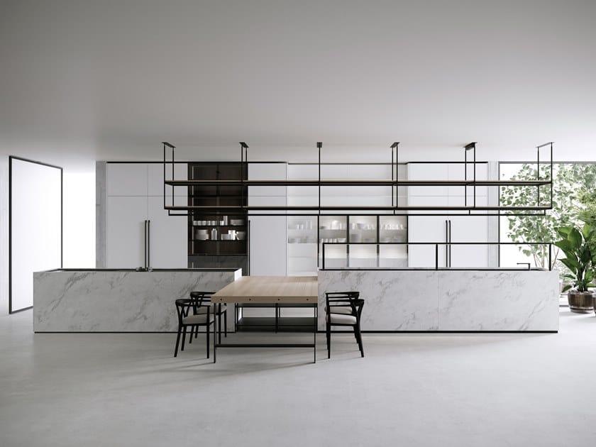 Cucina in marmo di Carrara con isola COMBINE EVOLUTION by Boffi
