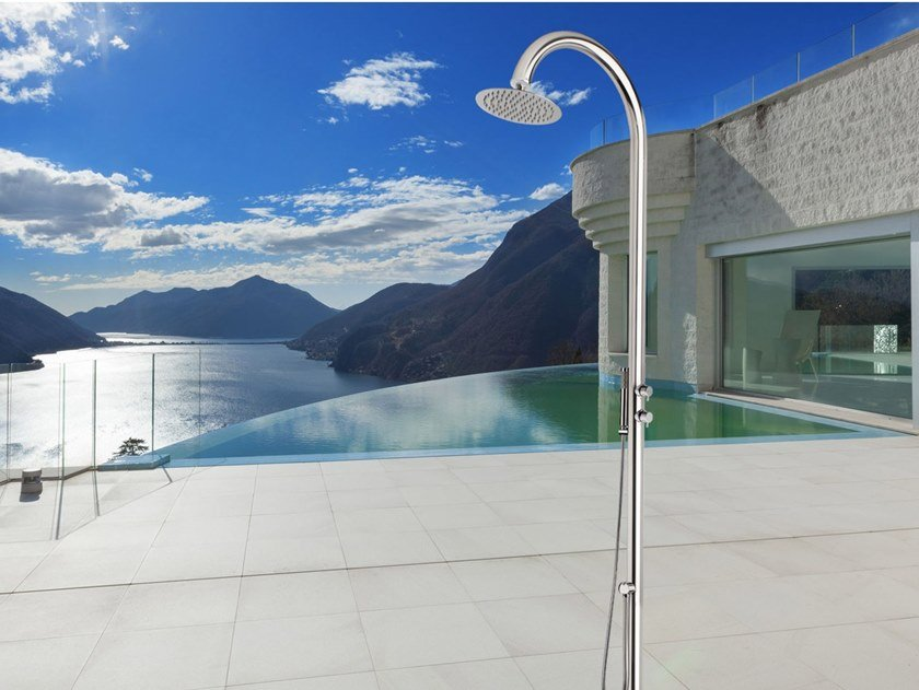 Stainless steel outdoor shower / Swimming pool shower COMETA By ...