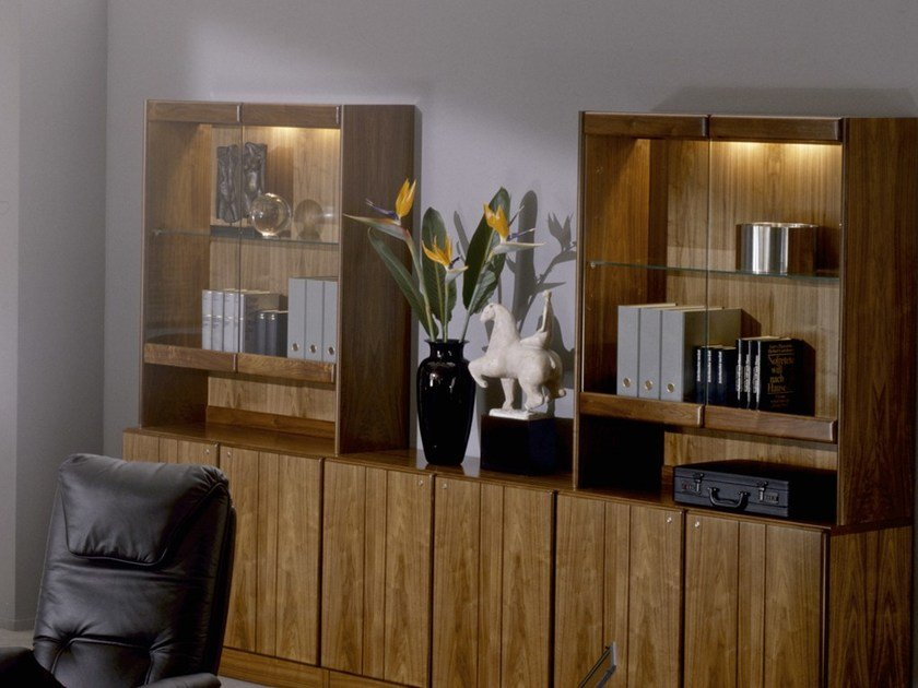 Wood and glass office shelving COMMODORE | Office shelving by Dyrlund