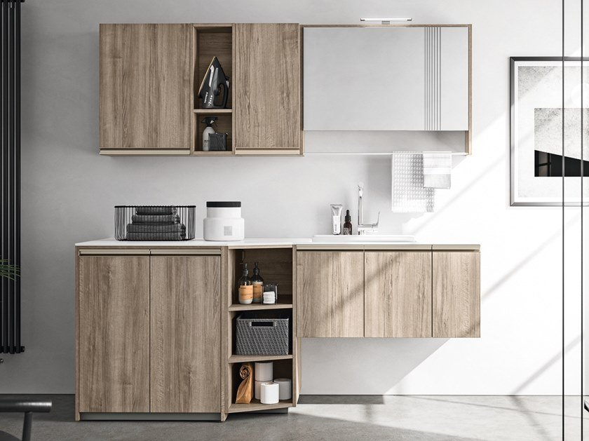 Wooden laundry room cabinet with sink REGOLA COMP.10 by Cerasa