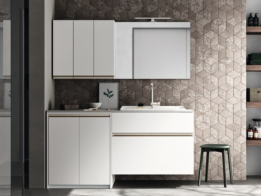 Laundry room cabinet with sink for washing machine REGOLA COMP.4 by Cerasa