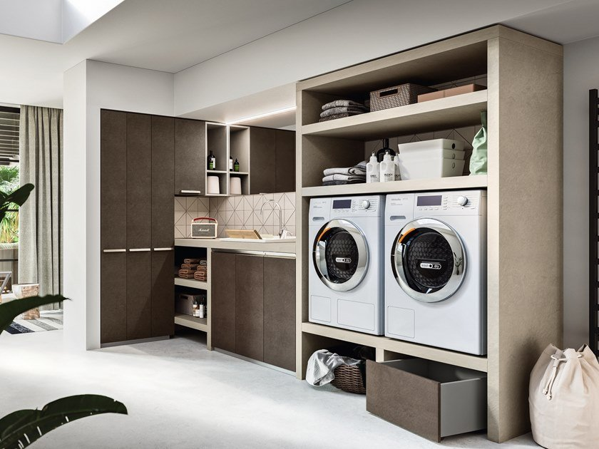Sectional wooden laundry room cabinet REGOLA COMP.5 by Cerasa