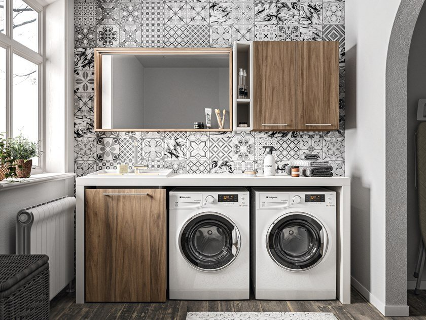 Wooden laundry room cabinet with sink REGOLA COMP.7 by Cerasa