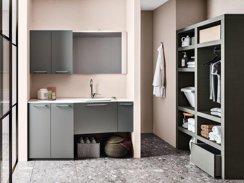Mobile lavanderia componibile in legno REGOLA COMP.8 by Cerasa