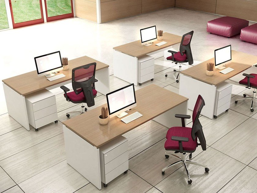 Rectangular melamine-faced chipboard workstation desk COMPACT C18A by Arcadia