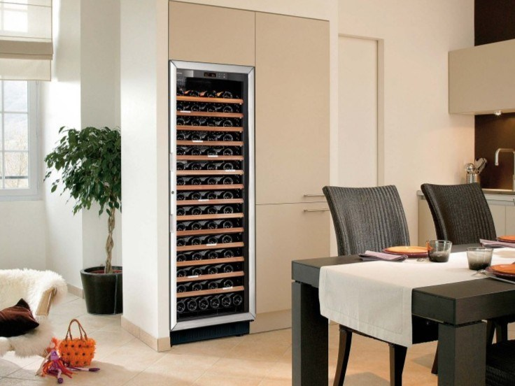 Freestanding Wine Cooler With Built In Lights Compact Large Glass