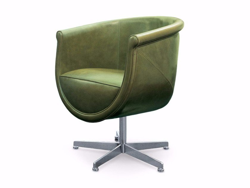 Compasso Leather Easy Chair By Mascheroni