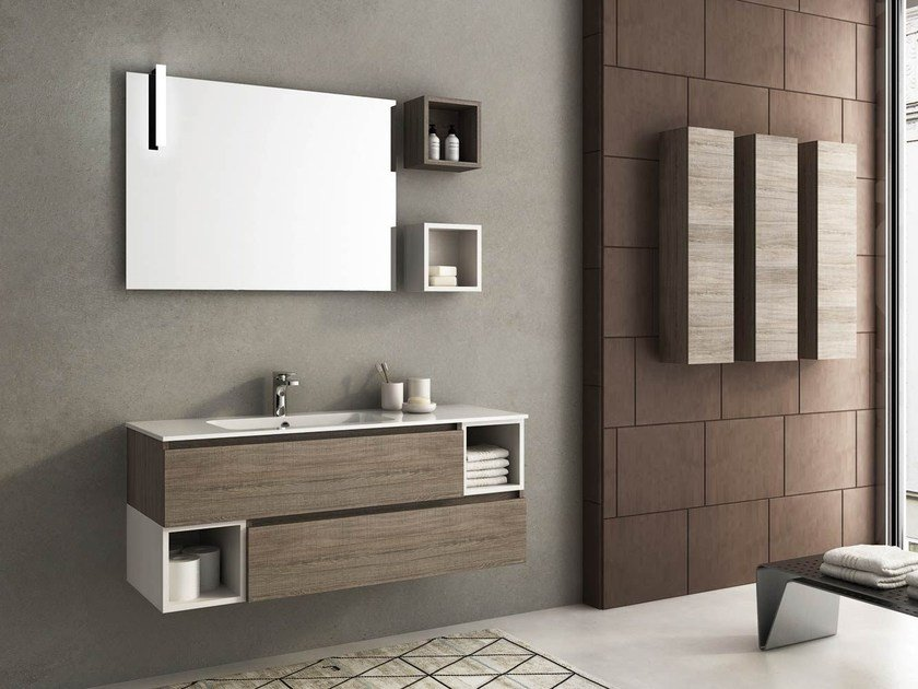 Wall-mounted vanity unit with drawers MODULAR 5 by LEGNOBAGNO
