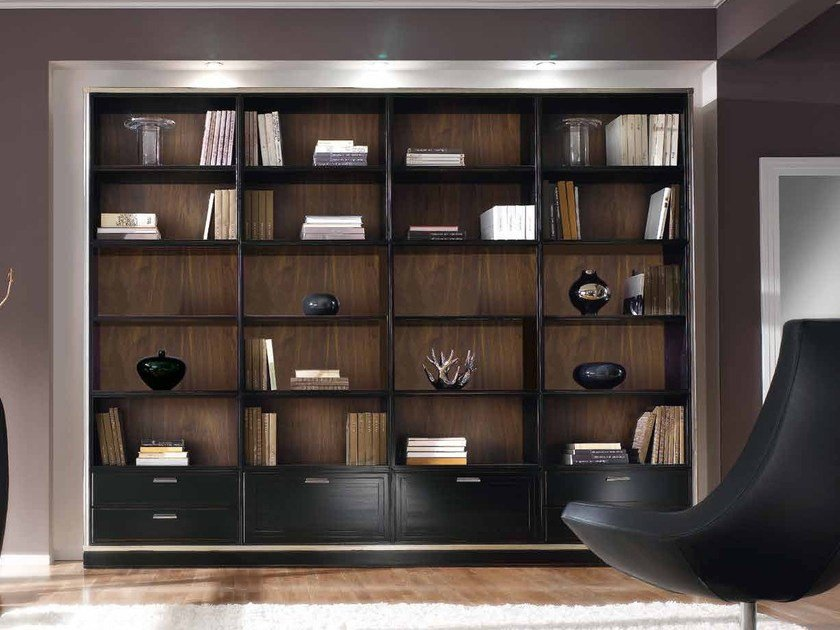 Open freestanding solid wood bookcase with drawers COMPOSITE | Bookcase by Arvestyle