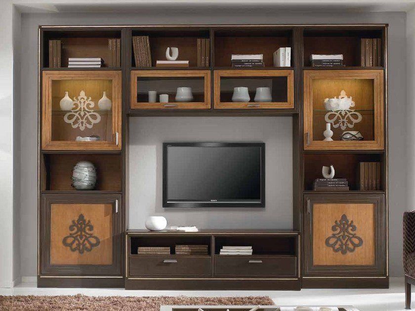 Parete attrezzata autoportante in legno massello con porta tv COMPOSITE | Parete attrezzata by Arvestyle