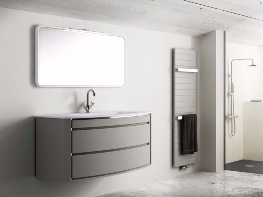 Single wall-mounted polyurethane vanity unit with drawers COMPOSITION 01 by Fiora