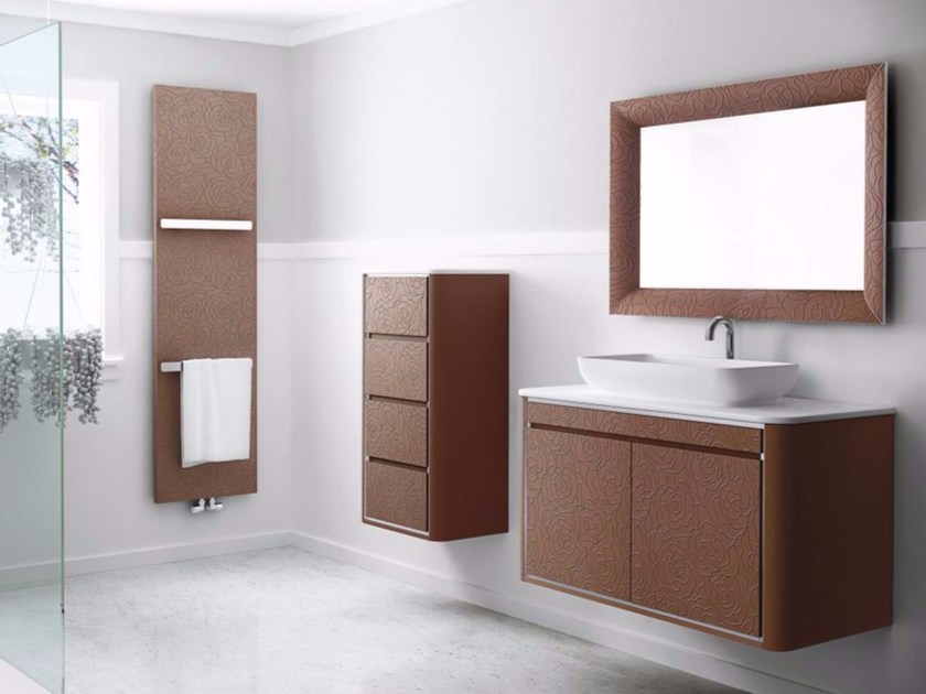 Contemporary style synthetic material vanity unit with doors with drawers with mirror COMPOSITION 05 by Fiora