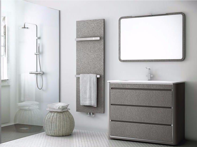 Mobile lavabo singolo in poliuretano con cassetti con specchio COMPOSIZIONE 06 by Fiora