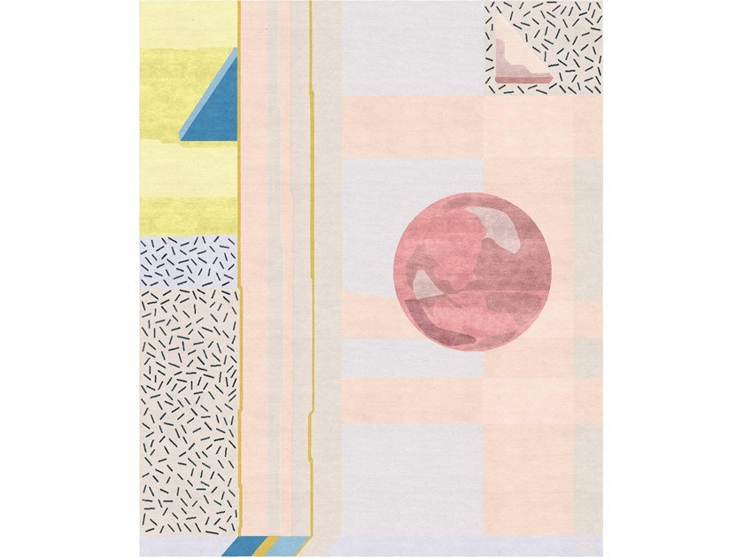 Handmade rectangular rug COMPOSITION II by Tapis Rouge