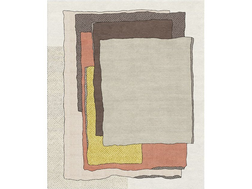 Patterned handmade rectangular wool and silk rug COMPOSITION XII.II by Tapis Rouge
