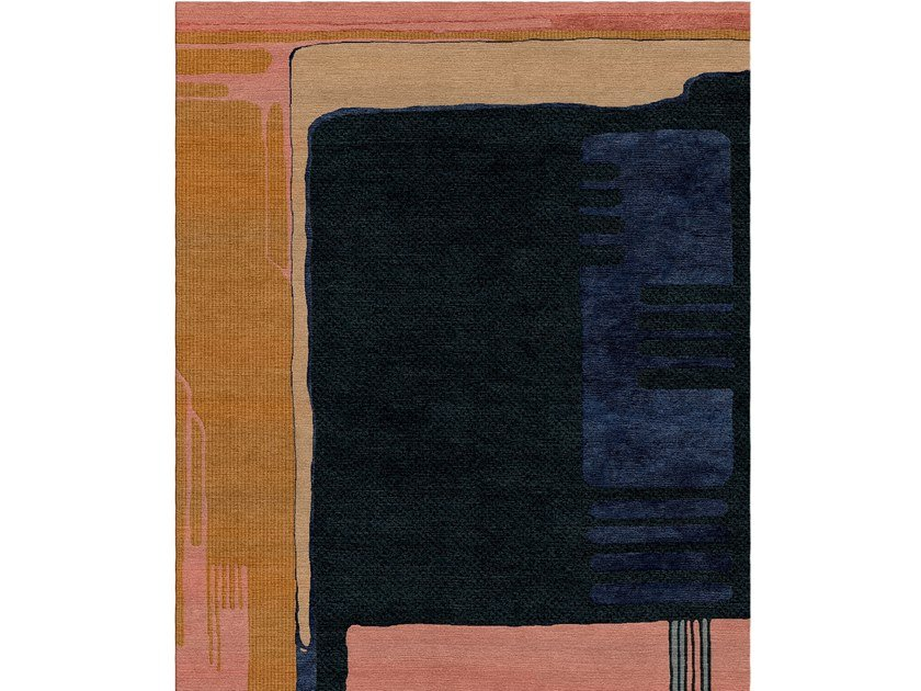 Patterned handmade rectangular wool and silk rug COMPOSITION XIII.I by Tapis Rouge