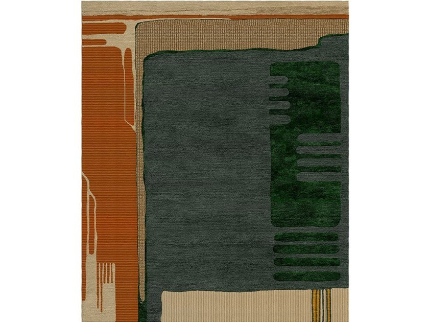 Patterned handmade rectangular wool and silk rug COMPOSITION XIII.II by Tapis Rouge