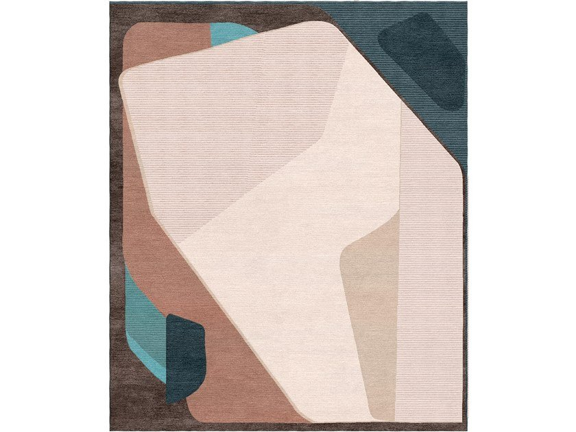 Patterned handmade rectangular wool and silk rug COMPOSITION XV.III by Tapis Rouge