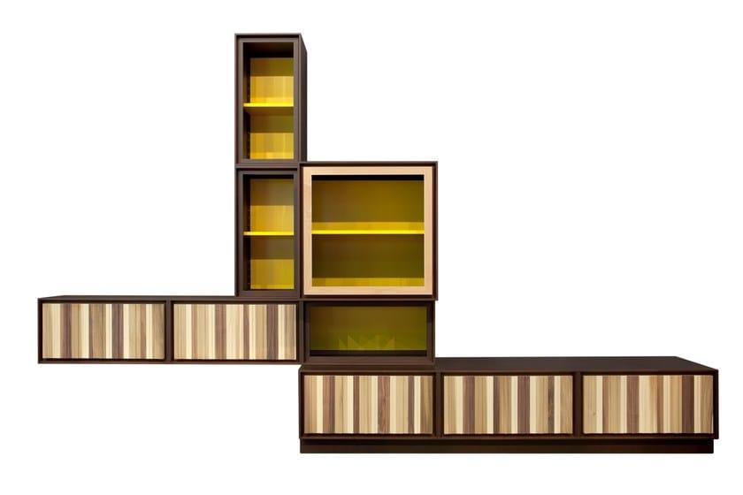 Parete attrezzata modulare in ciliegio MODULO ZERO | Parete attrezzata modulare by Morelato