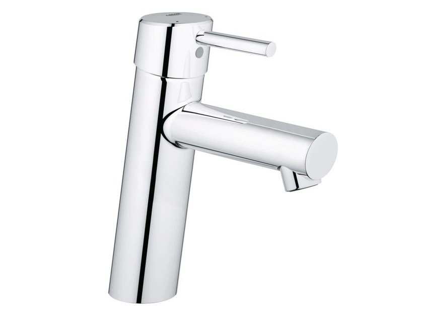 Countertop single handle washbasin mixer with temperature limiter CONCETTO SIZE M | Washbasin mixer without waste by Grohe