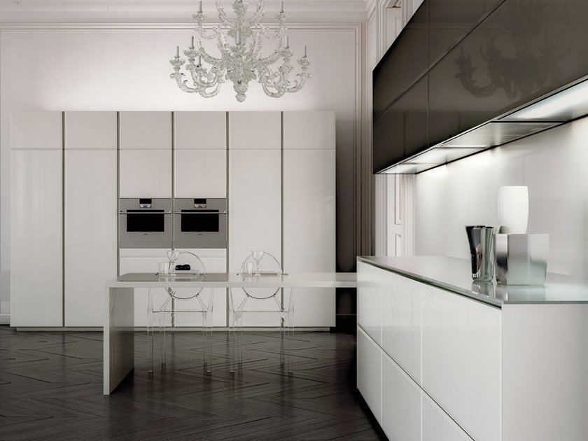 Cucine Scic Moderne.Lacquered Wood And Glass Fitted Kitchen Conchiglia By Scic