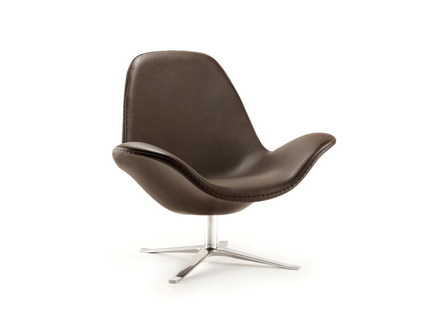 Leather armchair with 4-spoke base with armrests CONCORD LOW | Leather armchair by Stouby