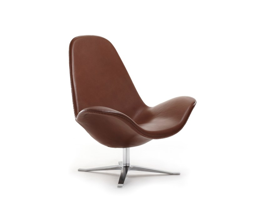 Leather armchair with 4-spoke base with armrests CONCORD HIGH | Leather armchair by Stouby