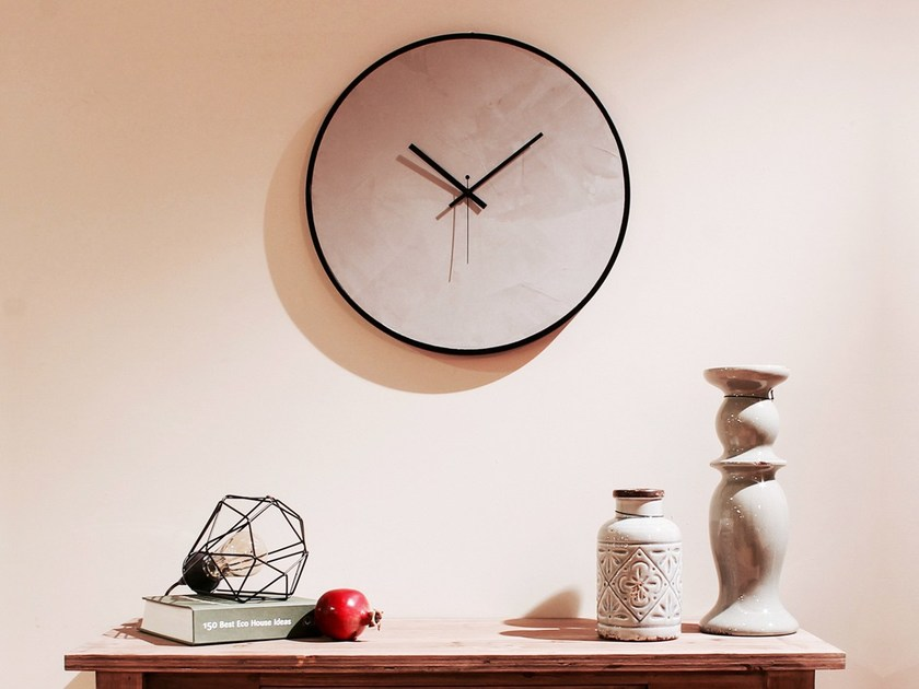 Wall-mounted wooden clock CONCRETE by xline