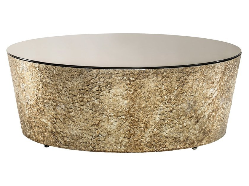Low Round Mirrored Glass Coffee Table Conico Basso By