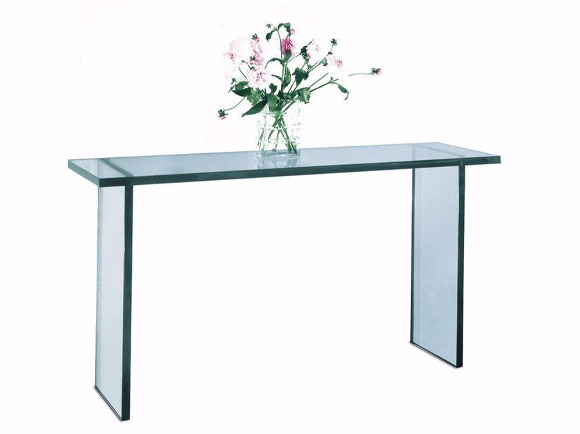 Glass console table CONSOLE 31 V by Jean Perzel