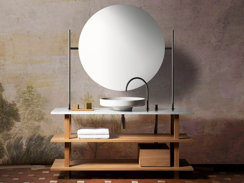 Oak & solid wood console sink CONSOLE LAVABO by Objets Architecturaux