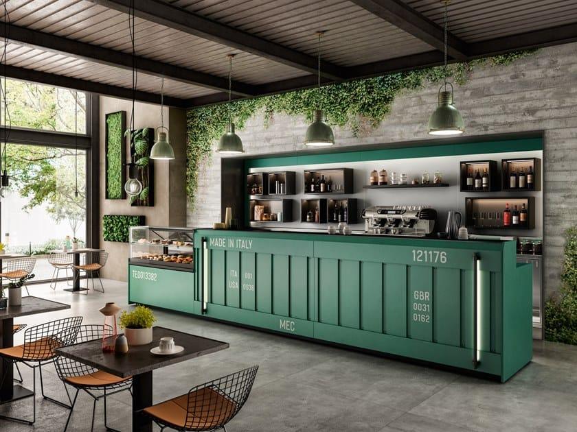 Bancone bar illuminato in acciaio CONTAINER by Frigomeccanica