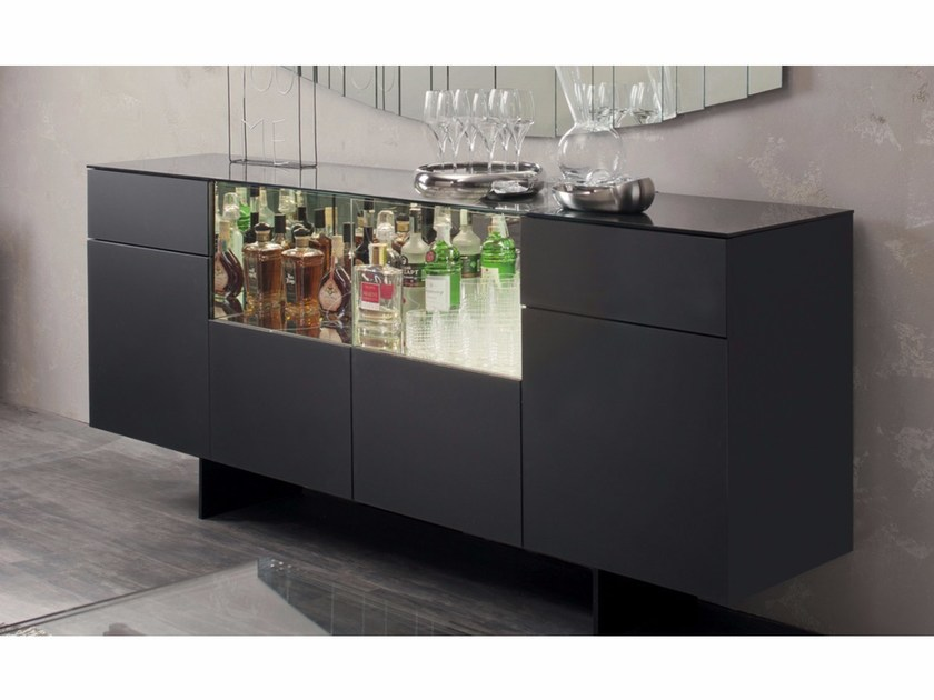 Etched glass sideboard with doors CONTINENTAL by Cattelan Italia