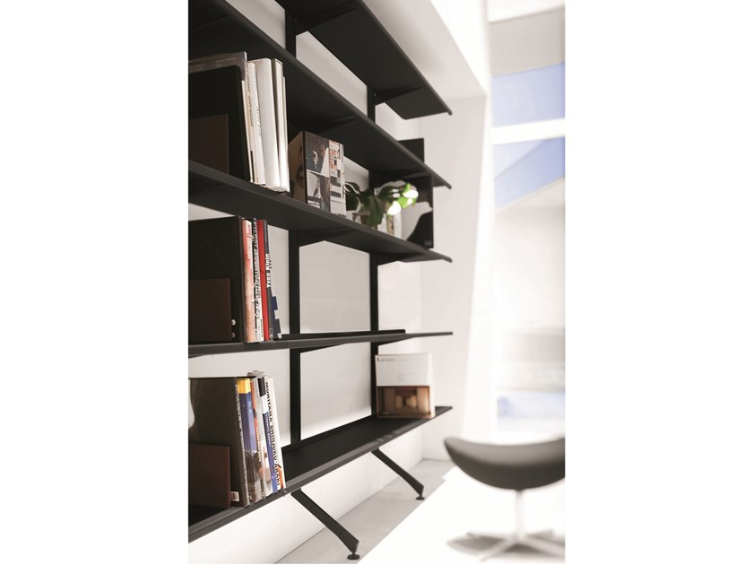 Open wall-mounted modular bookcase CONTINUA | Wall-mounted bookcase by Pallucco