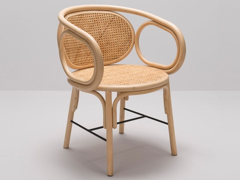 Rattan chair with armrests CONTOUR by Orchid Edition