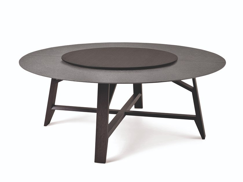 Marble and oak round table with rotating tray CONTROVENTO | Table by Busnelli