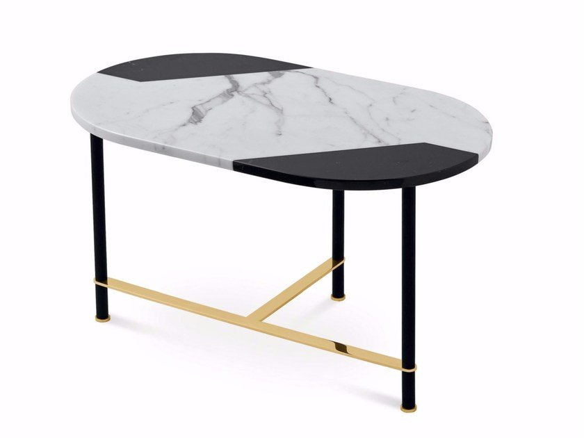 Oval marble coffee table COOKIES | Marble coffee table by Gallotti&Radice