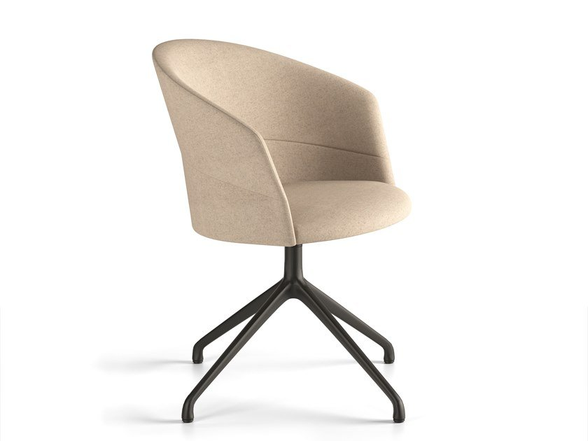 Swivel upholstered trestle-based chair COPA | Trestle-based chair by Viccarbe