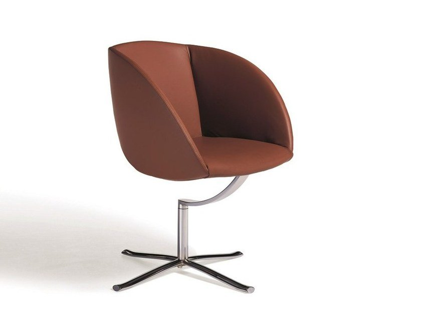 Swivel leather easy chair with 4-spoke base COPPA by Draenert