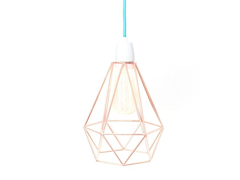 Metal pendant lamp / table lamp COPPER CAGE BLUE FABRIC WIRE by FILAMENTSTYLE