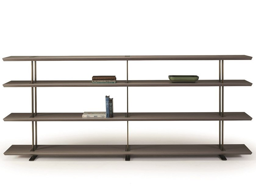 Freestanding double-sided wooden bookcase CORA by Promemoria