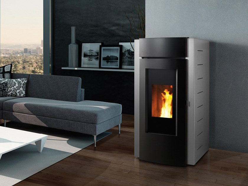 Pellet Class A+ steel Heating stove CORAL by CAMINETTI MONTEGRAPPA